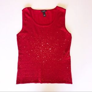 Alfani Holiday Red Sequin Knit Sleeveless Top L